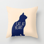 CAT AT HEART COLOR Throw Pillow by Danielle Marie | Society6