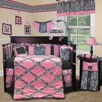 Baby Boutique - Pink Minky Zebra 13 pcs Baby Girl Crib Nursery bedding Set