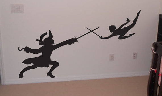 wall decal peter pan captain hook from otrengraving on etsy. Black Bedroom Furniture Sets. Home Design Ideas