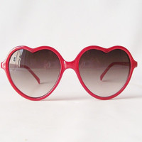 red heart sunglasses heart shaped frames in by RecycleBuyVintage