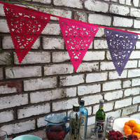 Purple, red and pink garland, fabric bunting with a vintage feel, party bunting