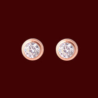 Single Drill 18k Rose Gold Earrings