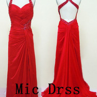 Straps Sleeveless Chiffon Pleated Crystal Beading Crystal Beading Long Prom/Evening/Party/Homecoming/Bridesmaid/Cocktail/Formal Dress