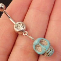 Turquoise Stone Skull Belly Button Ring by MidnightsMojo on Etsy