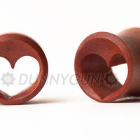 9/16 Pair Heart Tunnel Red Saba Wood Plugs Organic by Dunnygun