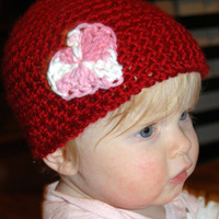 Valentine's day baby hat red with pink and by PinkLeopardBowtique