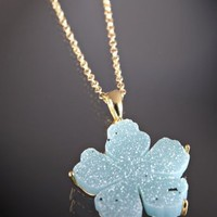 Marcia Moran light blue flower druzy pendant chain necklace | BLUEFLY up to 70% off designer brands
