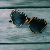Valentines Day Gift Womens Heart Sunglasses // The Original Handcrafted Wood Veneer Sunglasses