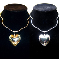 Heart pendant choker, big glass heart, scalloped necklace, silver plate