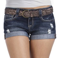 Wallflower Belted 5 Pocket Short Shorts with Distressed Accents and Heavy Stitch Detail