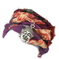 Sari Silk Ribbon Wrap Bracelet with Buddha by charmeddesign1012