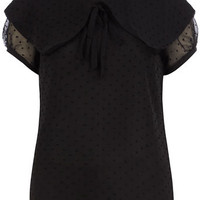 Black overlapping spot blouse - View All New In   - What's New