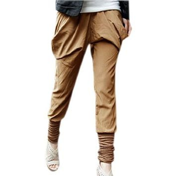 Allegra K Ladies Shirred Cuff Boho Style Casual Elastic Waist Baggy Pants