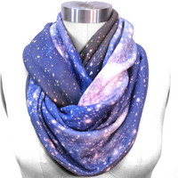 Galaxy Scarf SMC Nebula Circle Scarf, Galaxy Printed Scarf, Infinity Scarf, Warm Scarf, Organic Cotton.