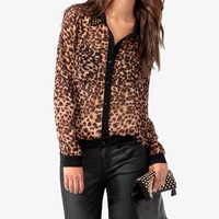 Animal Print Studded Collar Shirt