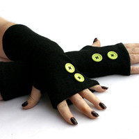 Black Arm Warmers, Fingerless Gloves with Green Buttons -  Texting Gloves,  Hand Warmers, Mitts, Arm Gloves, Gloves, Arm Sleeves