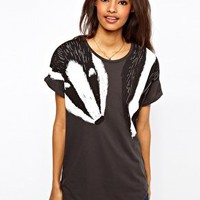 ASOS T-Shirt with Badger Scarf Print at asos.com