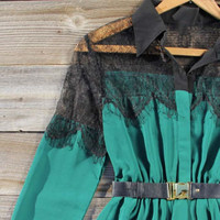 Quiet Frost Dress in Emerald, Sweet Women&#x27;s Bohemian Clothing