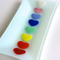 Valentine Rainbow Hearts Rectangular Fused Glass by bprdesigns