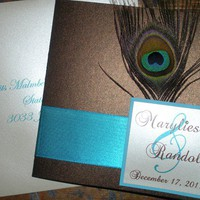 Peacock Wedding Invitation (Sample) Brown and Turquiose