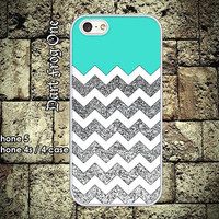 Glitter Print with White Chevron iPhone 5 case, iPhone 4s / 4 case hard plastic or silicon rubber