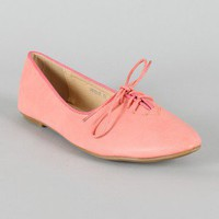 Pippa-01 Leatherette Lace Up Flat