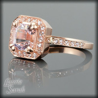 Asscher Cut Morganite Rose Gold Engagement by LaurieSarahDesigns