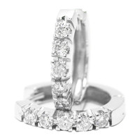 Diamond Earrings - Round Diamond Hoop-Huggie Earrings 0.50 tcw. G-H, VS-SI in 14 Karat White Gold - RH146