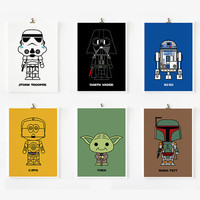 Cute Star wars art print 5 x 7 set of 6 by loopzart on Etsy