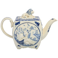 "1STDIBS.COM - Leo Kaplan Ltd. - A Rare Creamware Teapot Molded With ""Saint Anthony"""