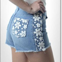 High-waisted Denim Shorts w Crocheted Lace