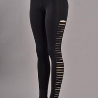Black Ankle Length Leggings with Side Rips