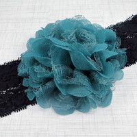 Adult Headband, Teal Flower on Black Lace Headband for Women and Teens by Flower Couture