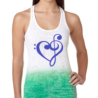 Music Heart Treble Bass Clef Burnout Ombre Racerback Tank Top