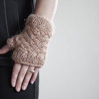 Knit Fingerless gloves - crochet mittens in tan color, wrist warmer - winter gloves - fall fashion
