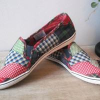 vintage canvas Patchwork Keds ... Size 6 ... comfy stylish flats colorful