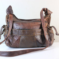 Vintage 1980s Hobo Brown Patchwork Leather Shoulder Bag or Purse