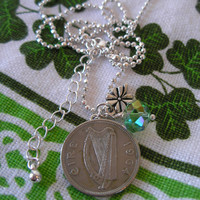 Irish Coin Charm Necklace-1964 Scilling
