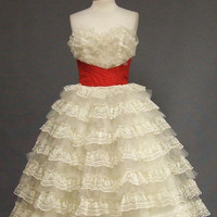 Ruffled Ivory Lace &amp; Red Taffeta 1950&#x27;s Strapless Prom Dress VINTAGEOUS VINTAGE CLOTHING