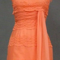 FAB Coral Chiffon & Lace Cocktail Dress VINTAGEOUS VINTAGE CLOTHING
