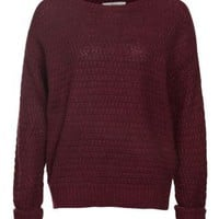 New Look Mobile | Burgundy Knitted Crew Neck Jumper