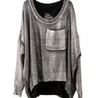 Retro Silver Print Pocket Sweater