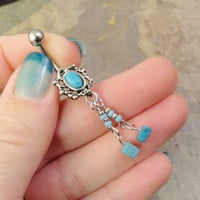 Turquoise Dangle Belly Button Ring with Beaded Chain
