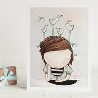 $12.00 Maybe  6x8 cute girl print by atpalicis on Etsy