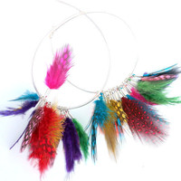 Hoop Earrings Feathers Sterling Silver hoops with by Daniblu