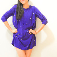 $37.73 Vintage Pearl Starry Night Purple Knit Mini Dress / by AmprisLoves