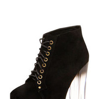 Amara Black Suedette Lace Up Perspex Block Heel Boots
