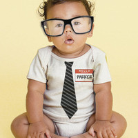 The New Guy - Tie Baby Onesuit, Personalized Infant Geek, Geekery, Custom Boy Tie Bodysuit