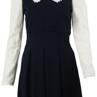ROMWE | Spliced Lace Pleated Dark-blue Dress, The Latest Street Fashion