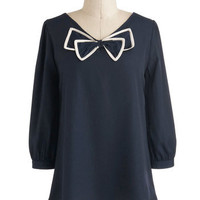 Bow Tied and True Top | Mod Retro Vintage Short Sleeve Shirts | ModCloth.com